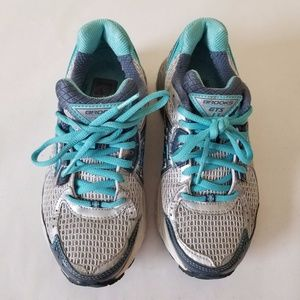 Brooks GTS Women Silver & Blue Lace Up Shoes